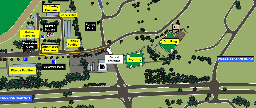 EPIC Site Map_Spring Gem Show_Mallee Pavilion_Gate 4 Access_Parking