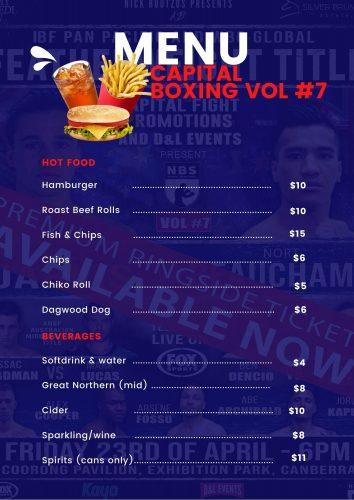 Boxing vol 7 menu